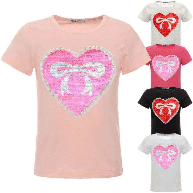 BEZLIT M/ädchen T-Shirt Wende-Pailletten Bluse 21355