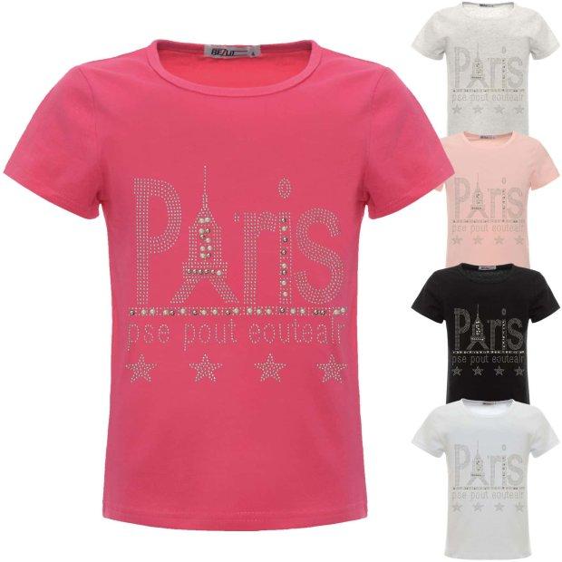 45645fb03f3bf Mädchen Sommer T-Shirt mit Glitzer und Kunst-Perlen