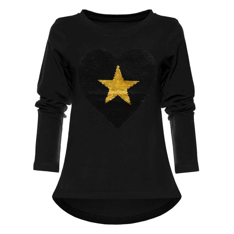 396ffe9e52 Mädchen Wendepailletten Shirt mit Herz Motiv Schwarz 104, 14,90 €
