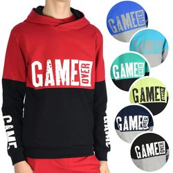 Jungen Sweatjacke Kapuze & GAME OVER Aufdruck