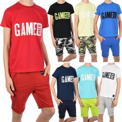 Jungen Sommer Set T-Shirt GAME OVER und Stoff Shorts