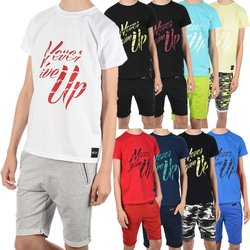 Jungen Sommer Set T-Shirt NEVER GIVE UP und Stoff Shorts