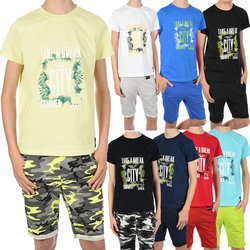 Jungen Sommer Set T-Shirt Take a break und Stoff Shorts